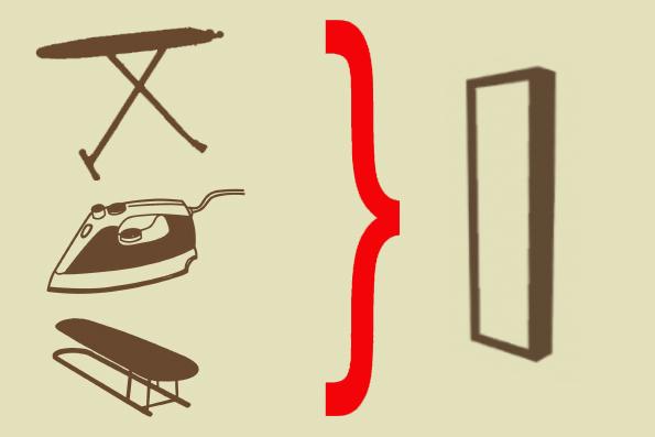 В гладильный шкафчик помещается утюг, подрукавник и откидная гладильная доска